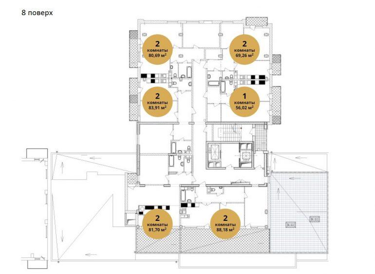 ЖК Ясная поляна 2 планировка 8 этажа