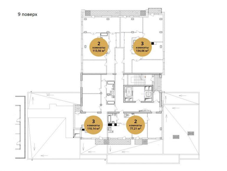 ЖК Ясная поляна 2 планировка 9 этажа