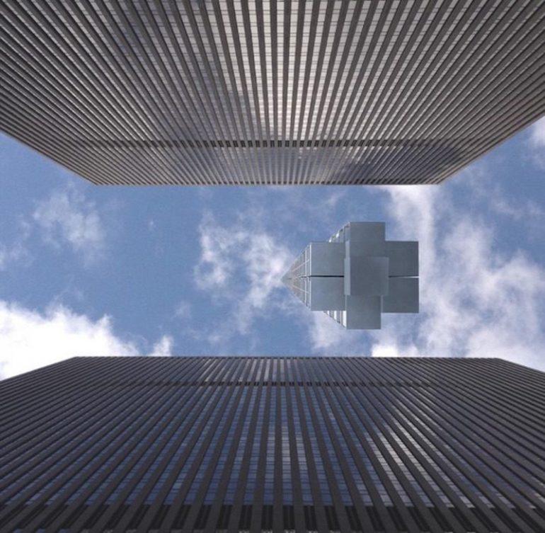 Analemma Tower небоскреб висящий с неба вид с Земли