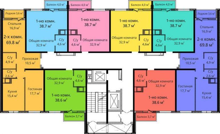 ЖК Михайловский городок / Секция №1 / План типового этажа