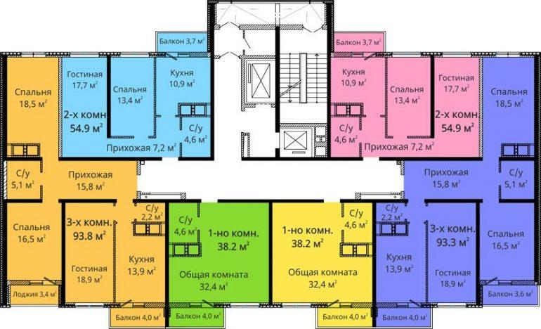 ЖК Михайловский городок / Секция №3 / План типового этажа