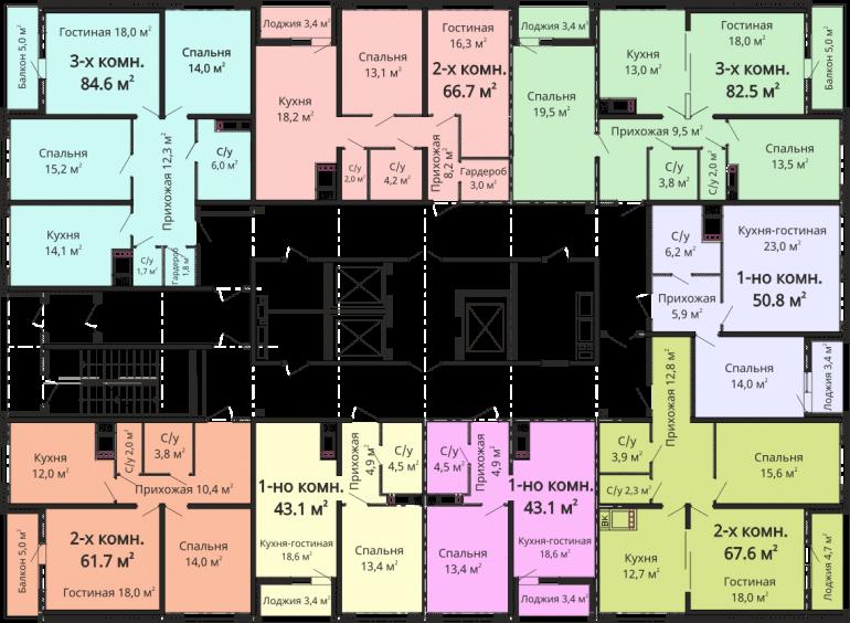 ЖК Омега План типового этажа секции