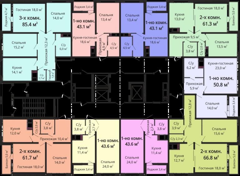 ЖК Омега План типового этажа