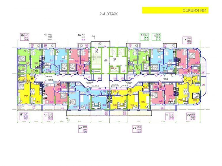 ЖК Таировские сады 1 секция 2-4 этажи