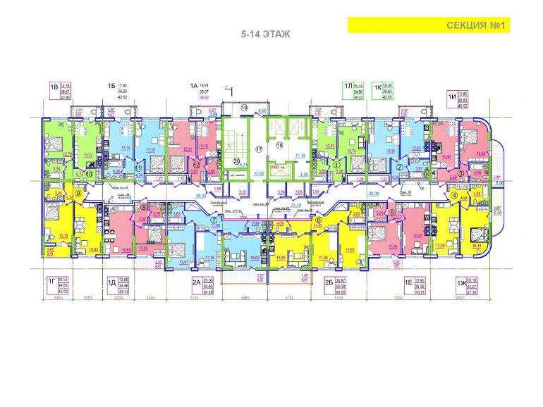 ЖК Таировские сады 1 секция 5-14 этажи