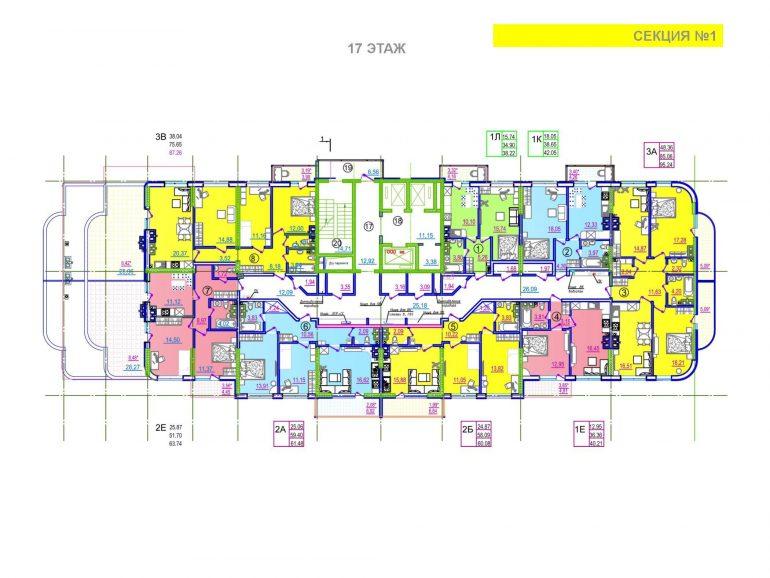 ЖК Таировские сады 1 секция 17 этаж