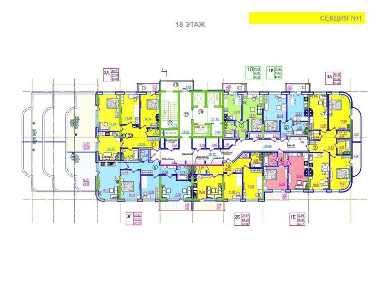 ЖК Таировские сады 1 секция 18 этаж