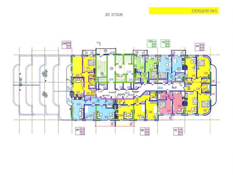 ЖК Таировские сады 1 секция 20 этаж