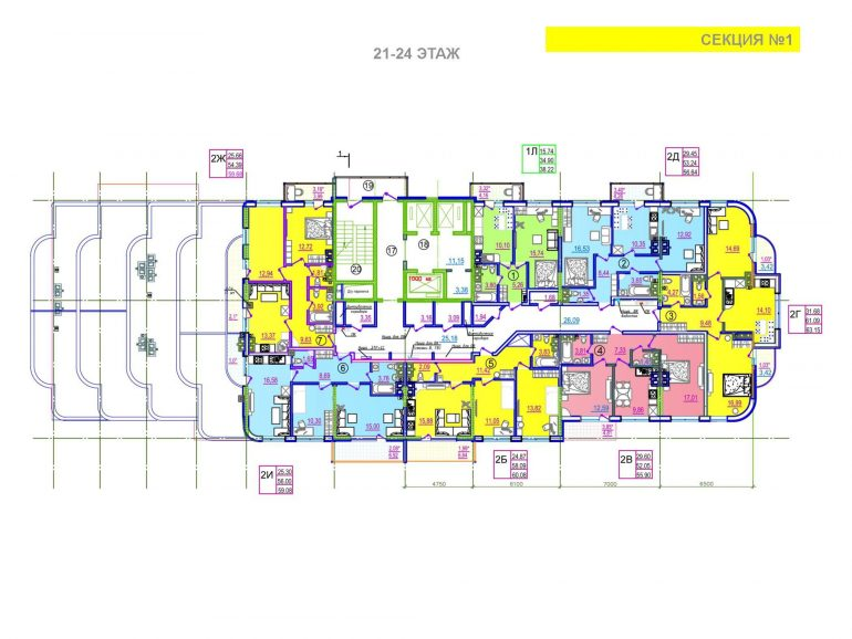 ЖК Таировские сады 1 секция 21-24 этаж