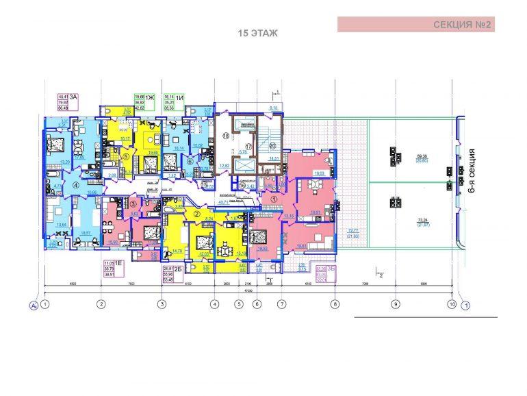 ЖК Таировские сады 2 секция 15 этаж