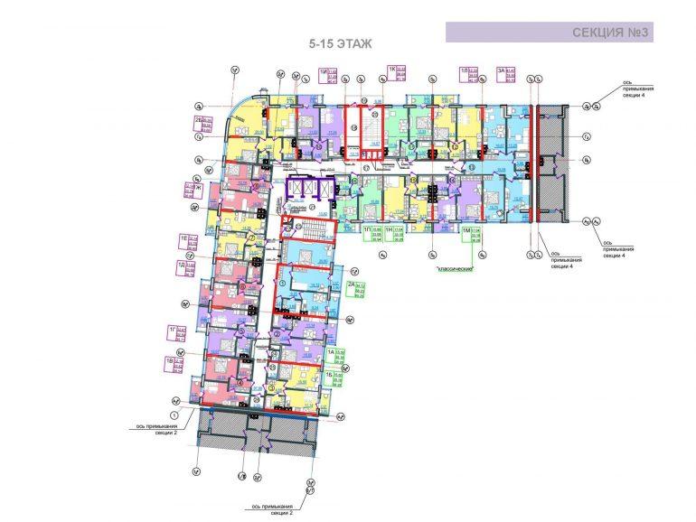 ЖК Таировские сады 3 секция 5-15 этажи