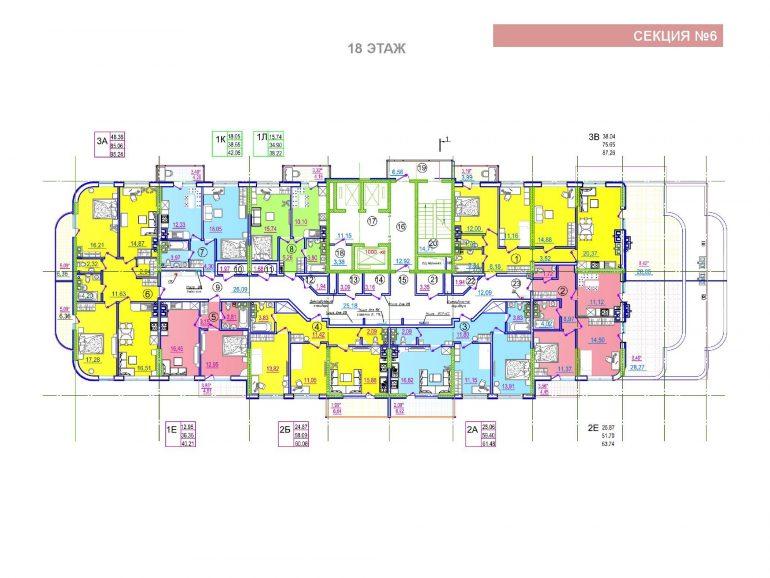 ЖК Таировские сады 6 секция 18 этаж