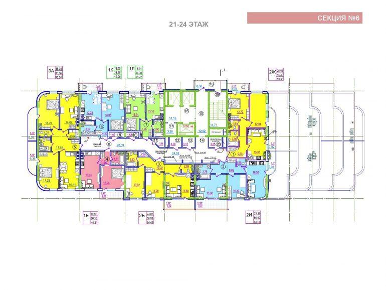 ЖК Таировские сады 6 секция 21-24 этажи