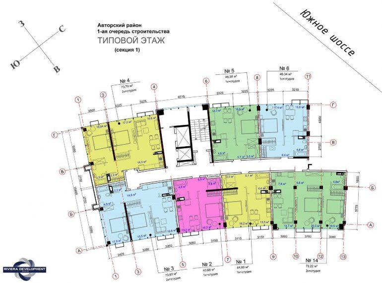 ЖК Авторский район План типового этажа секция 1