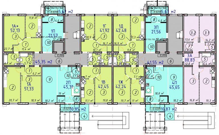 ЖК Лесскай План 1-го этажа