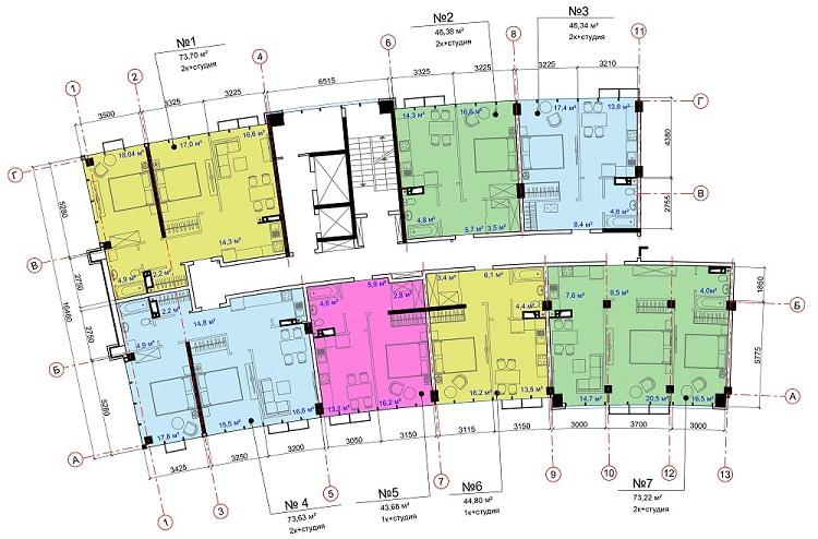 ЖК Авторский район СК Ривьера Девелопмент 1 секция типовой этаж