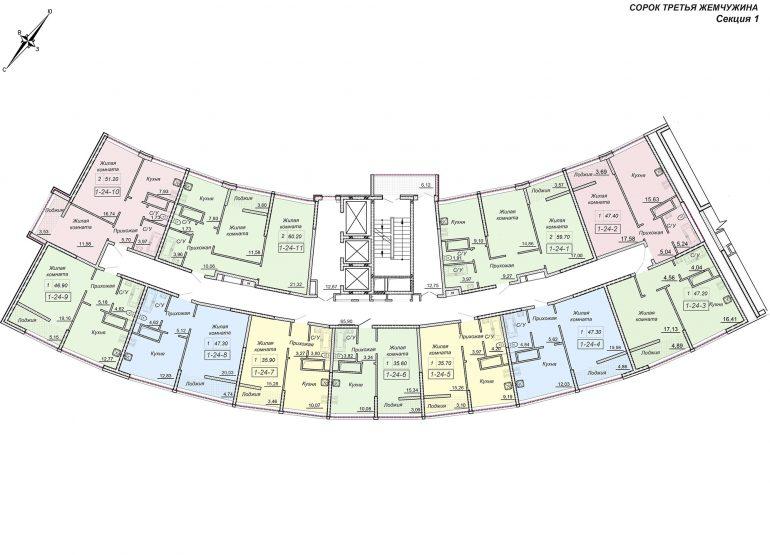 43 Жемчужина / Секция 1 / План типового этажа