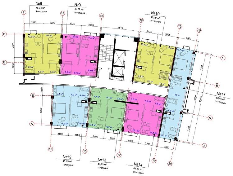 ЖК Авторский район СК Ривьера Девелопмент 2 секция типовой этаж