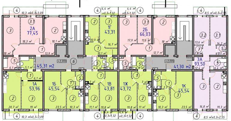 ЖК Лесскай План типового этажа