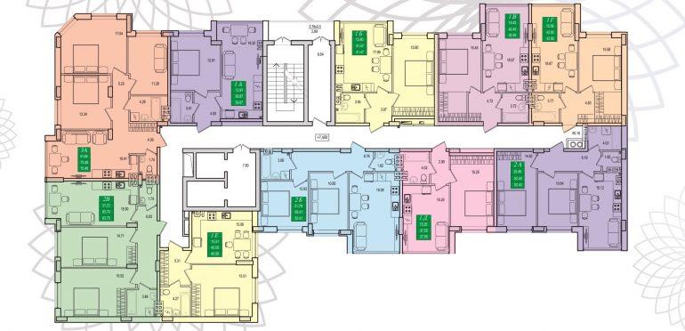 ЖК Приморские сады План типового этажа