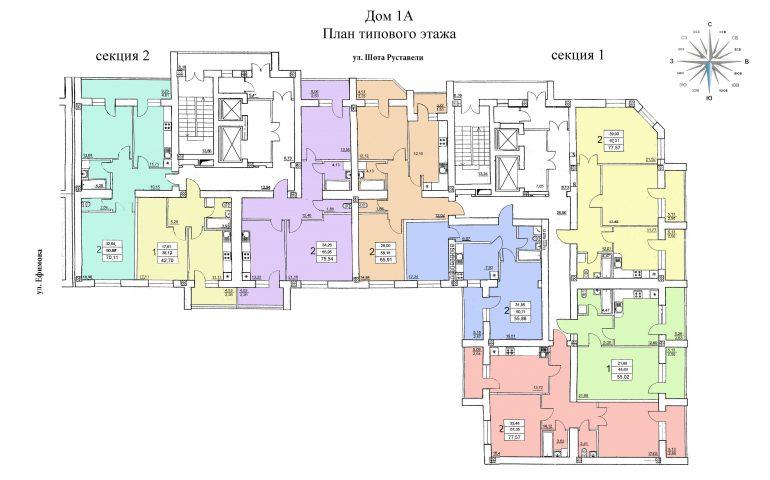 ЖК на Ефимова План типового этажа