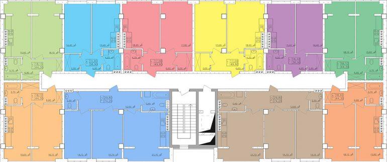 Клаб-Марин 2 очередь Планировка этажа, Секция 6,10