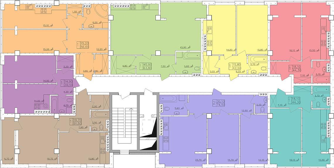Клаб-Марин 2 очередь Планировка этажа, Секция 7