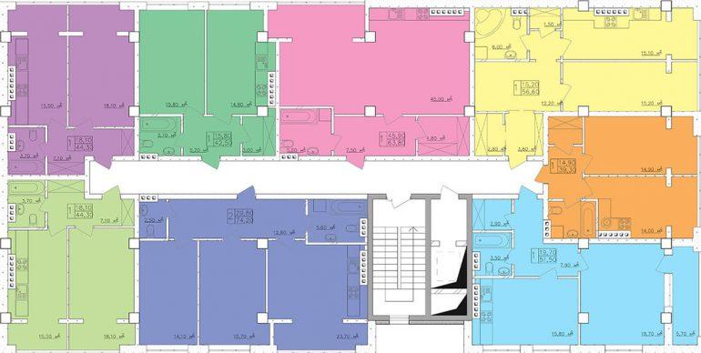 Клаб-Марин 2 очередь Планировка этажа, Секция 9