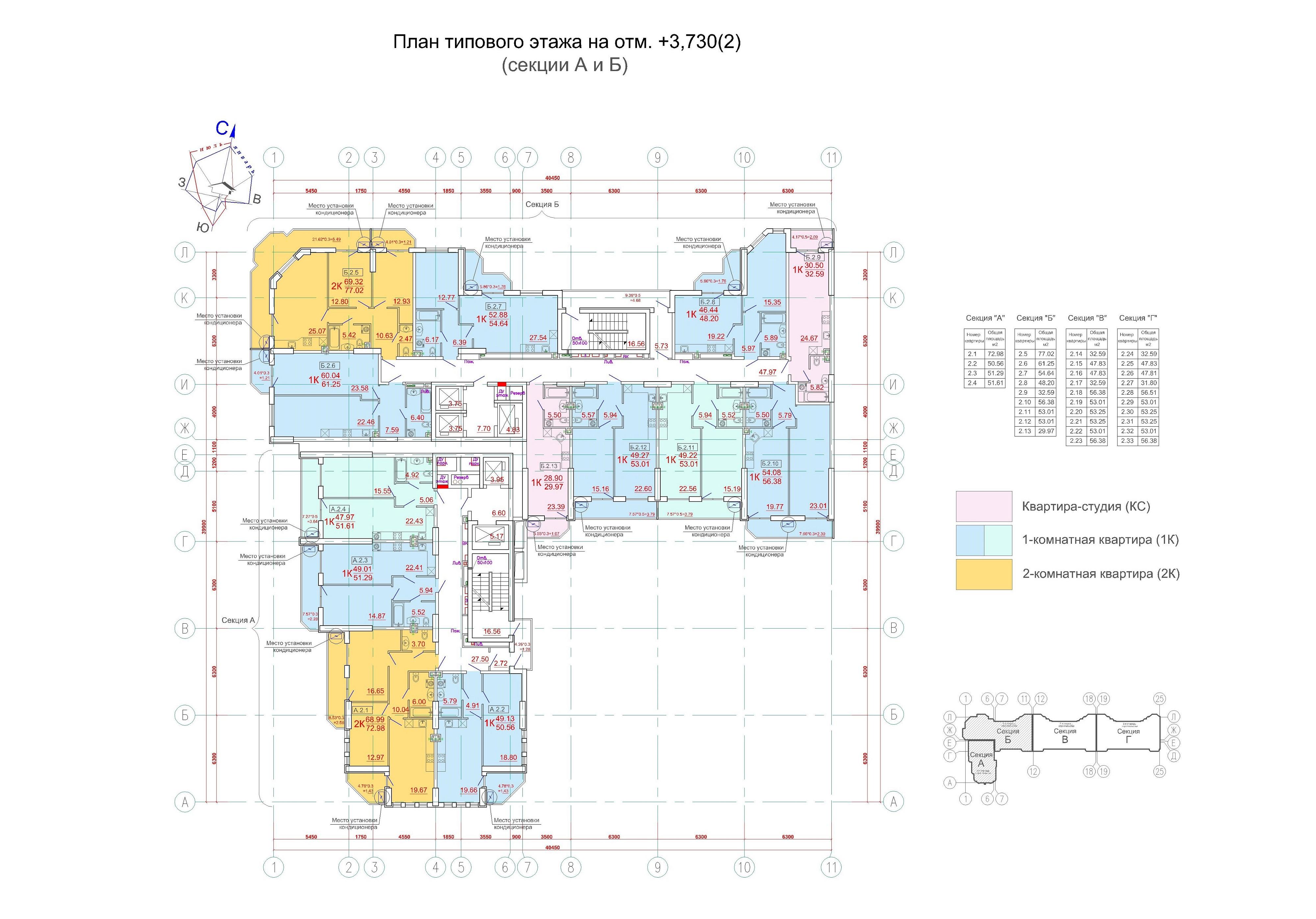 ЖК Родос Аркадия План типового этажа, секция А и Б