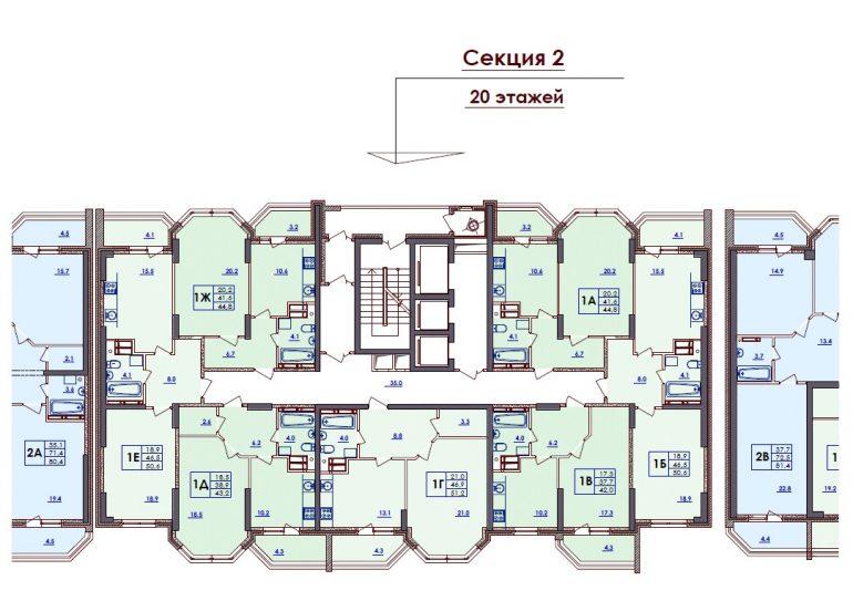 ЖК Волна. 2 секция. Типовая планировка этажа.
