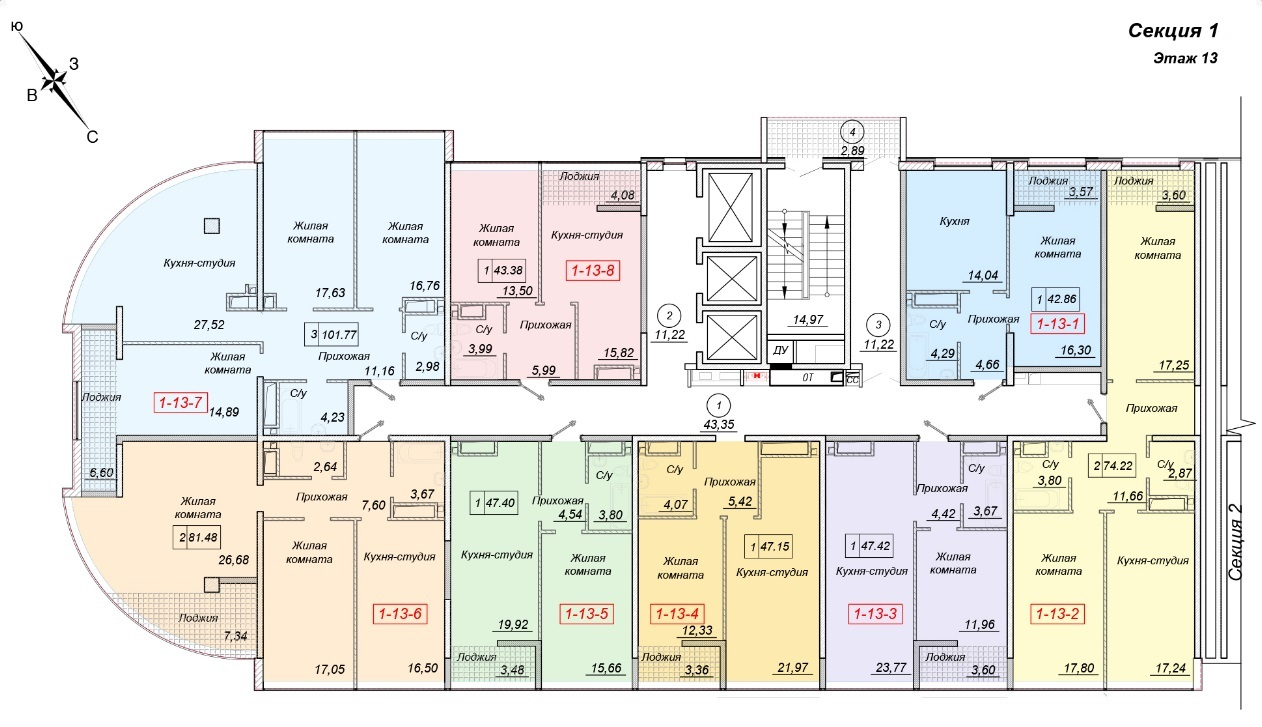 ЖК 35 Жемчужина от Кадорр. 1 секция, 13 этаж.