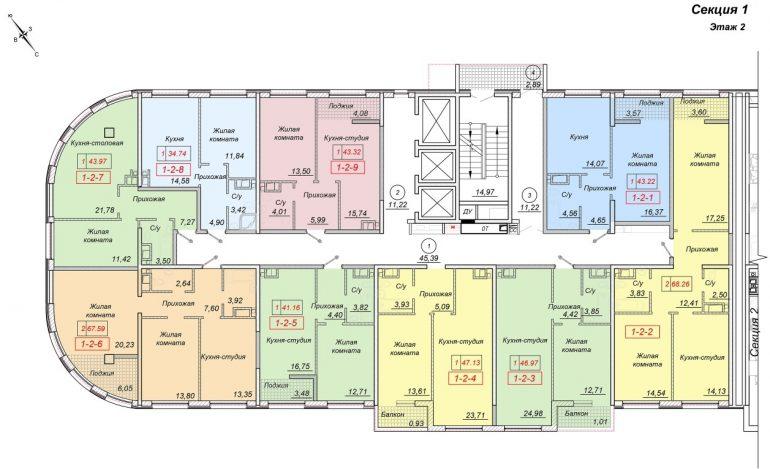 ЖК 35 Жемчужина от Кадорр. 1 секция, 2 этаж.