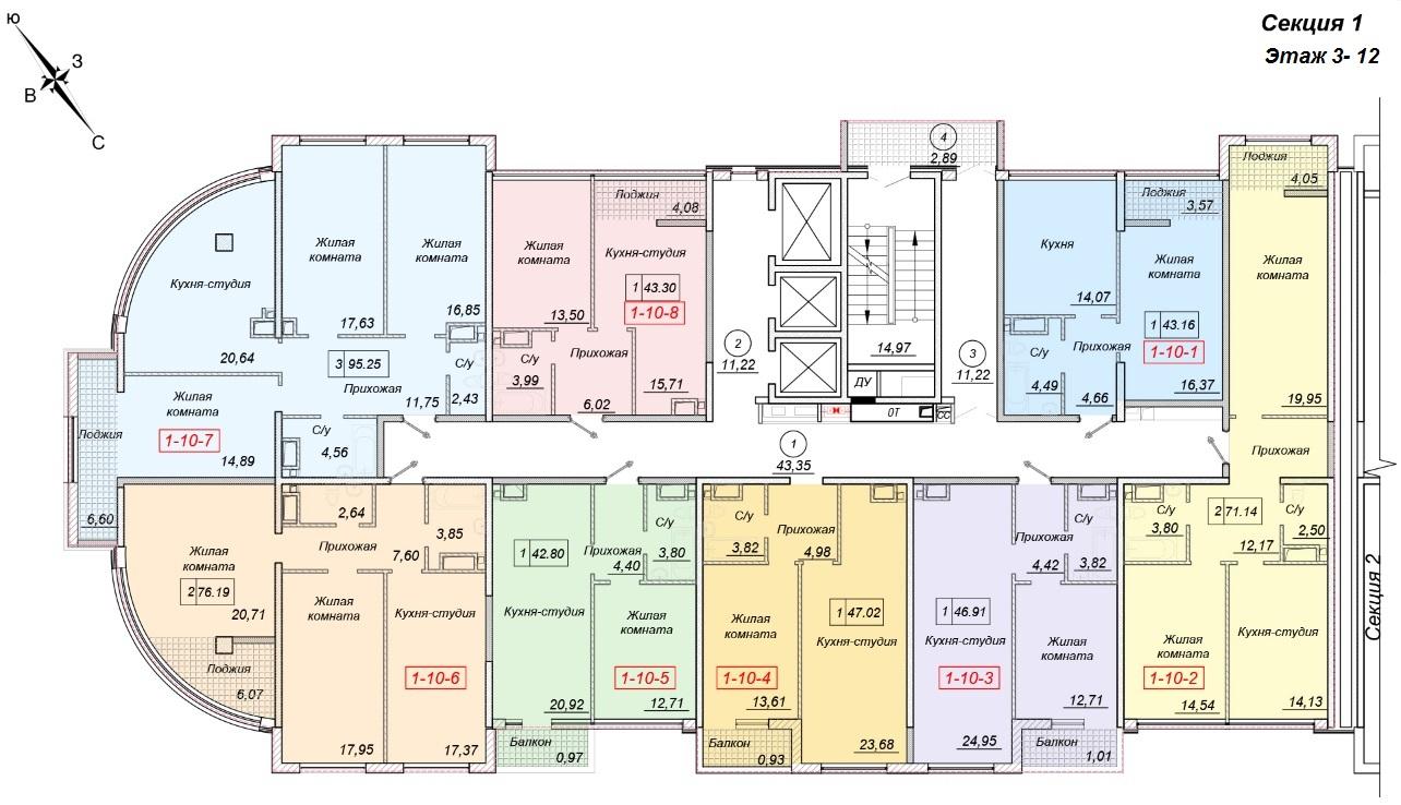 ЖК 35 Жемчужина от Кадорр. 1 секция, 3-12 этаж