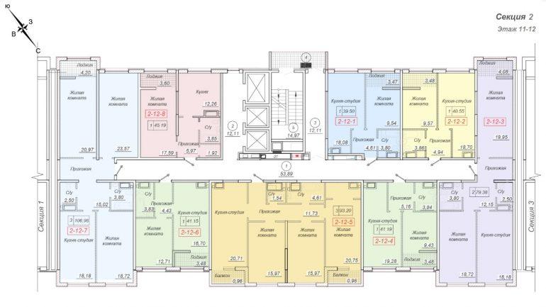 ЖК 35 Жемчужина от Кадорр. 2 секция, 11-12 этаж.