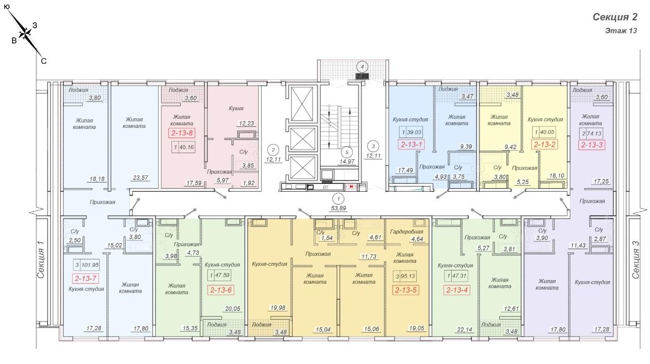 ЖК 35 Жемчужина от Кадорр. 2 секция, 13 этаж.