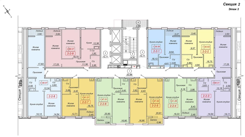 ЖК 35 Жемчужина от Кадорр. 2 секция, 2 этаж.
