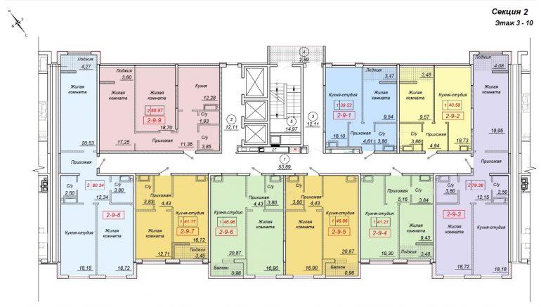 ЖК 35 Жемчужина от Кадорр. 2 секция, 3-10 этаж.