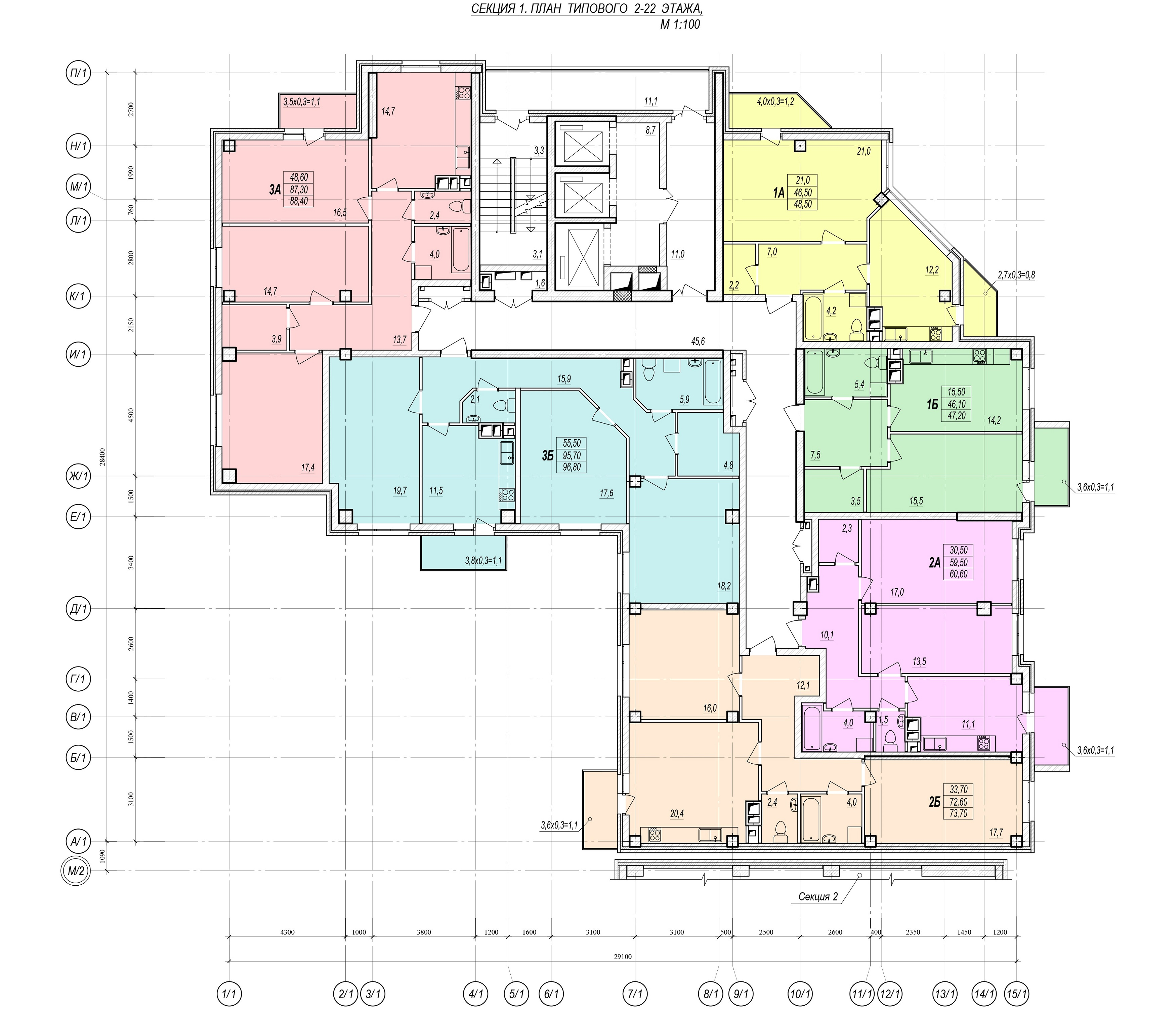 Люстдорфская дорога, 55/6. План 2-22 этажей.