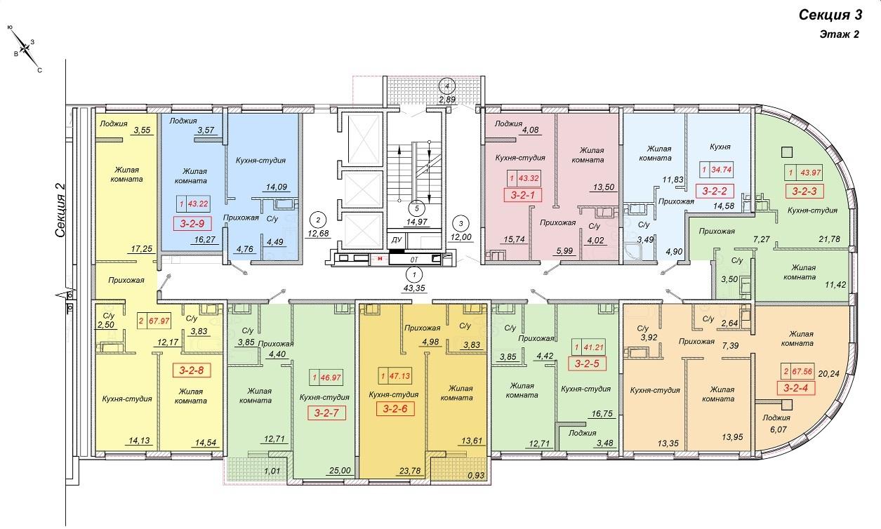 ЖК 35 Жемчужина от Кадорр. 3 секция, 2 этаж.