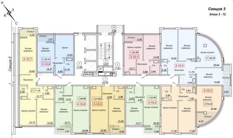 ЖК 35 Жемчужина от Кадорр. 3 секция, 3-12 этаж.