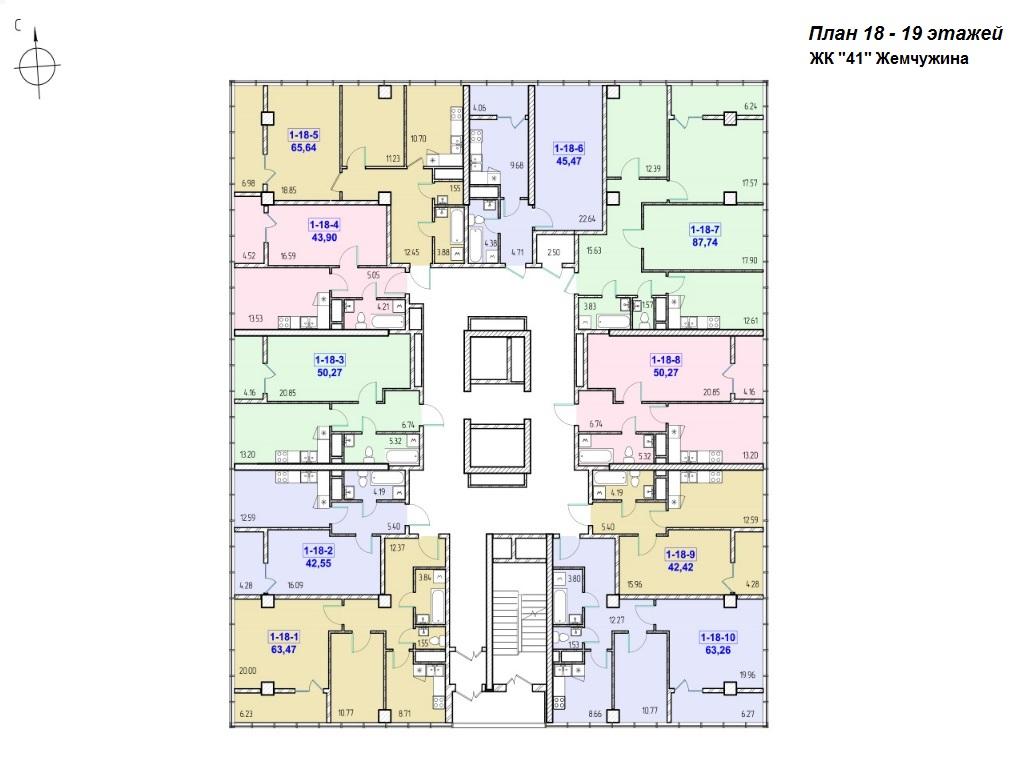 ЖК 41 Жемчужина от Кадорр. Планировка 18-19 этажей.