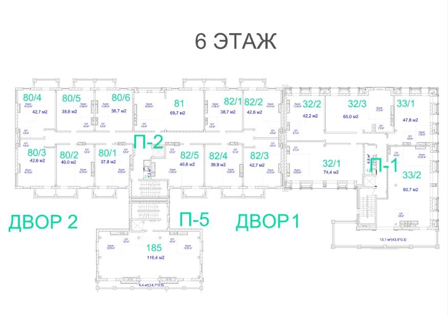 ЖК Авторский. 3 очередь. 6 этаж