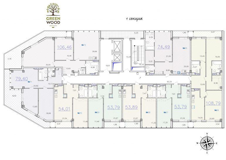ЖК GreenWood. 1 секция. Типовая планировка этажа.