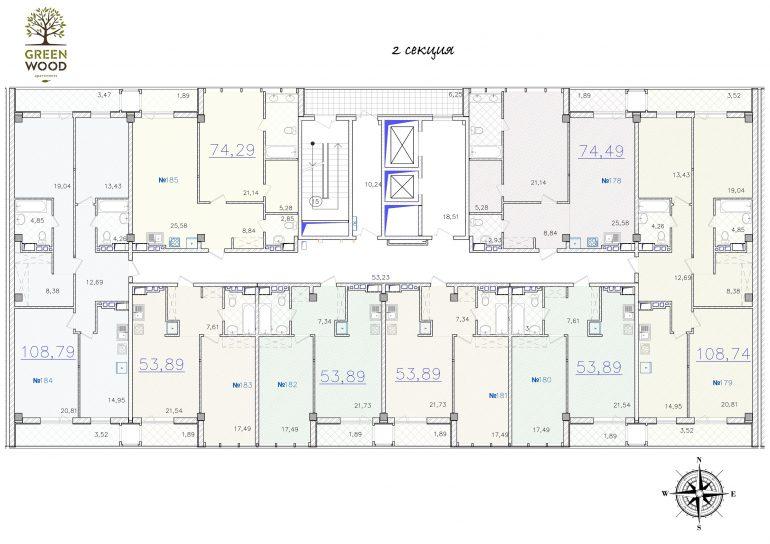 ЖК GreenWood. 2 секция. Типовая планировка этажа.