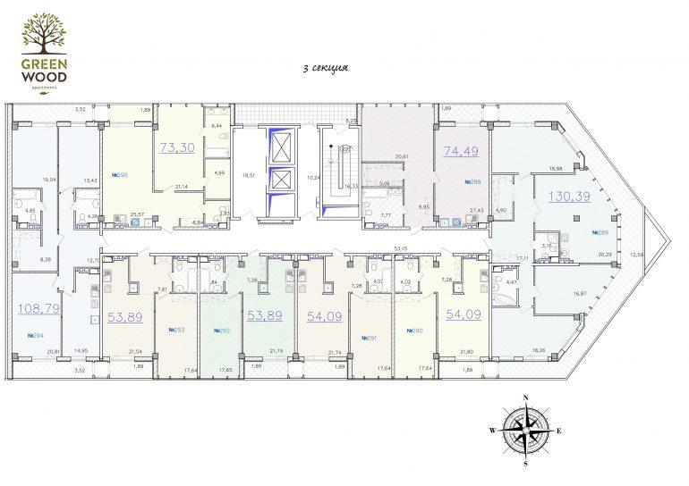 ЖК GreenWood. 3 секция. Типовая планировка этажа.