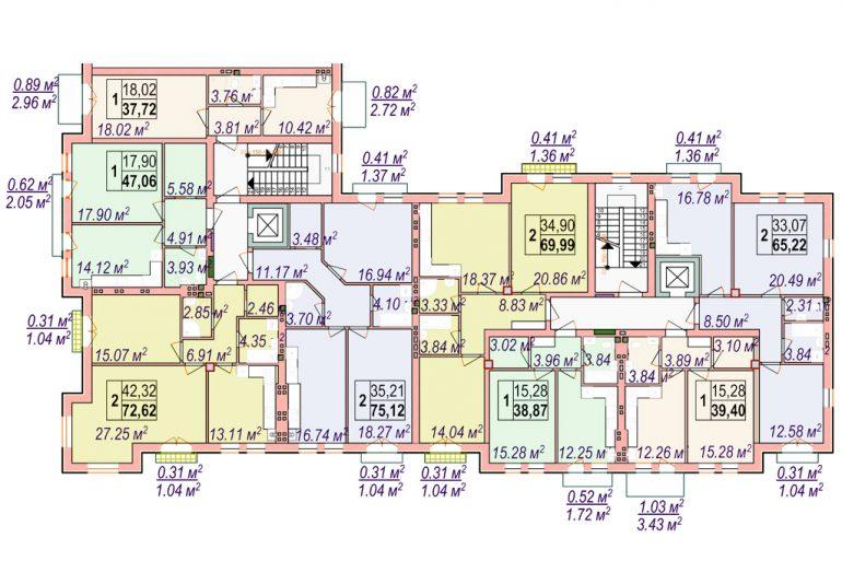 Клубный дом Челси Блок 1 План типового этажа