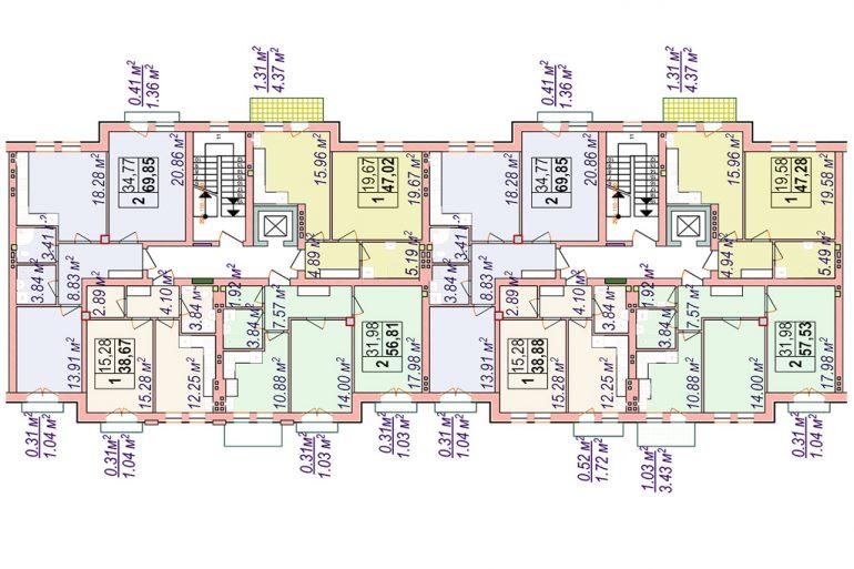 Клубный дом Челси Блок 2 План типового этажа