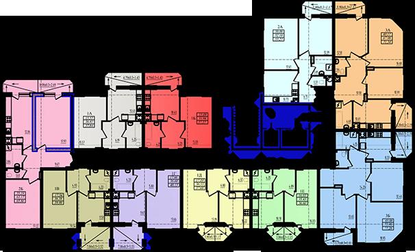 ЖК Радужный 2 Дом №3 Секция 3а План типового этажа
