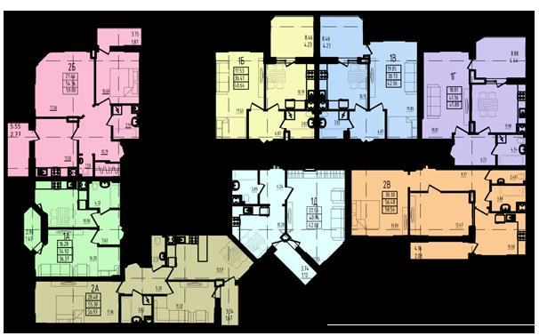 ЖК Радужный 2 Дом №3 Секция 3в План типового этажа