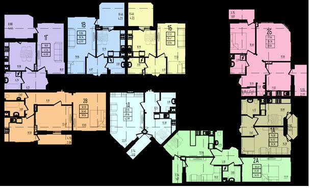 ЖК Радужный 2 Дом №3 Секция 3в2 План типового этажа